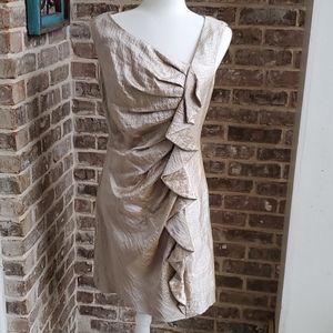 Suzi Chin Beautiful Gold Lame Ruffled V-neck Dress